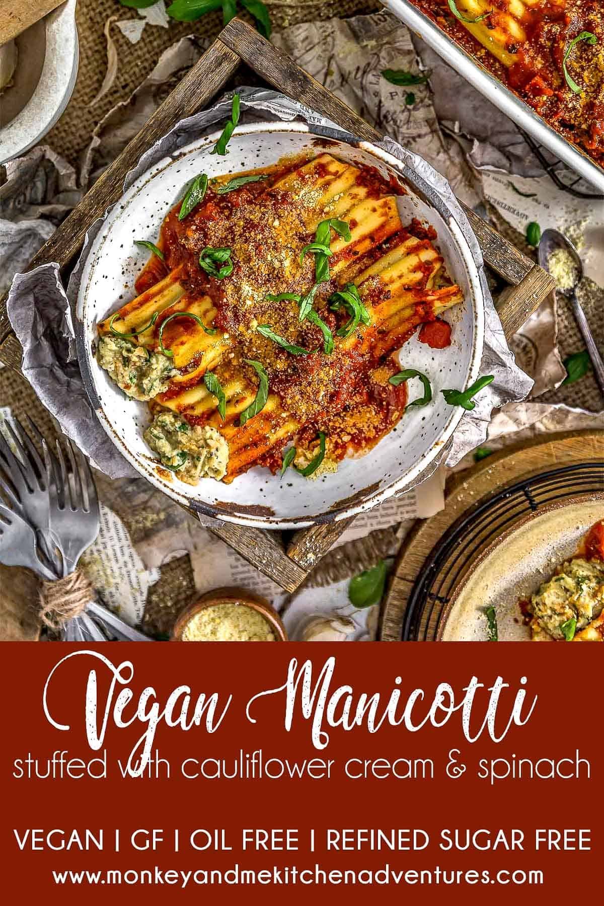 Vegan Manicotti Stuffed with Cauliflower Cream and Spinach with text description