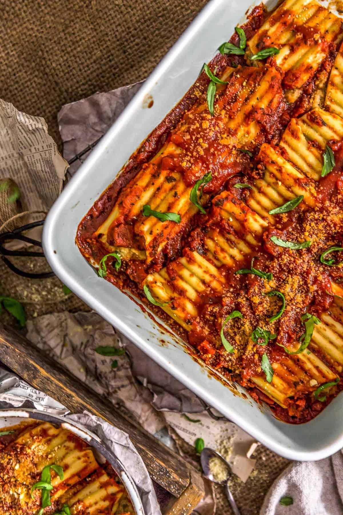 Vegan Manicotti Stuffed with Cauliflower Cream and Spinach