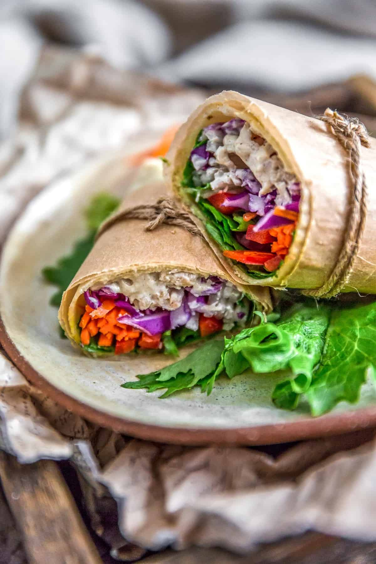 Vegan Tangy Honey Mustard Mayo in a wrap