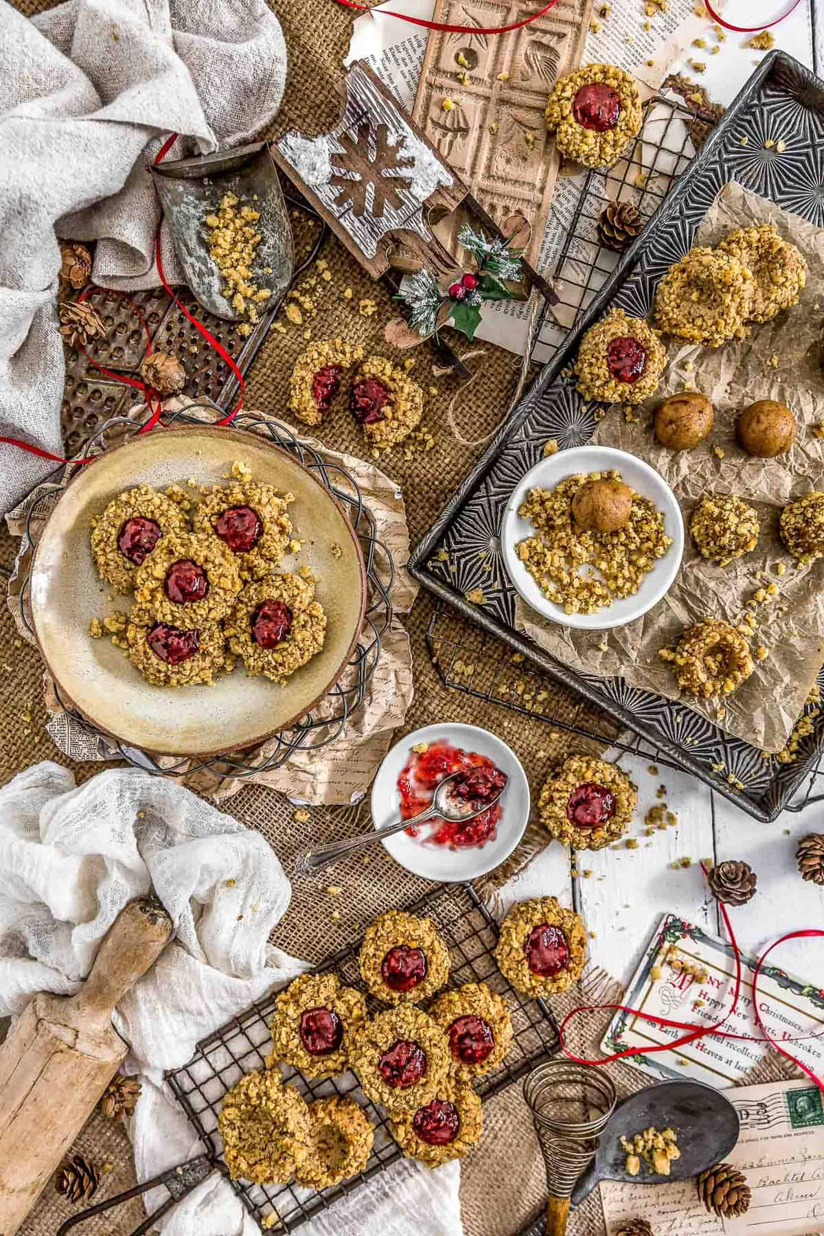 Tablescape of Vegan Thumbprint Cookies