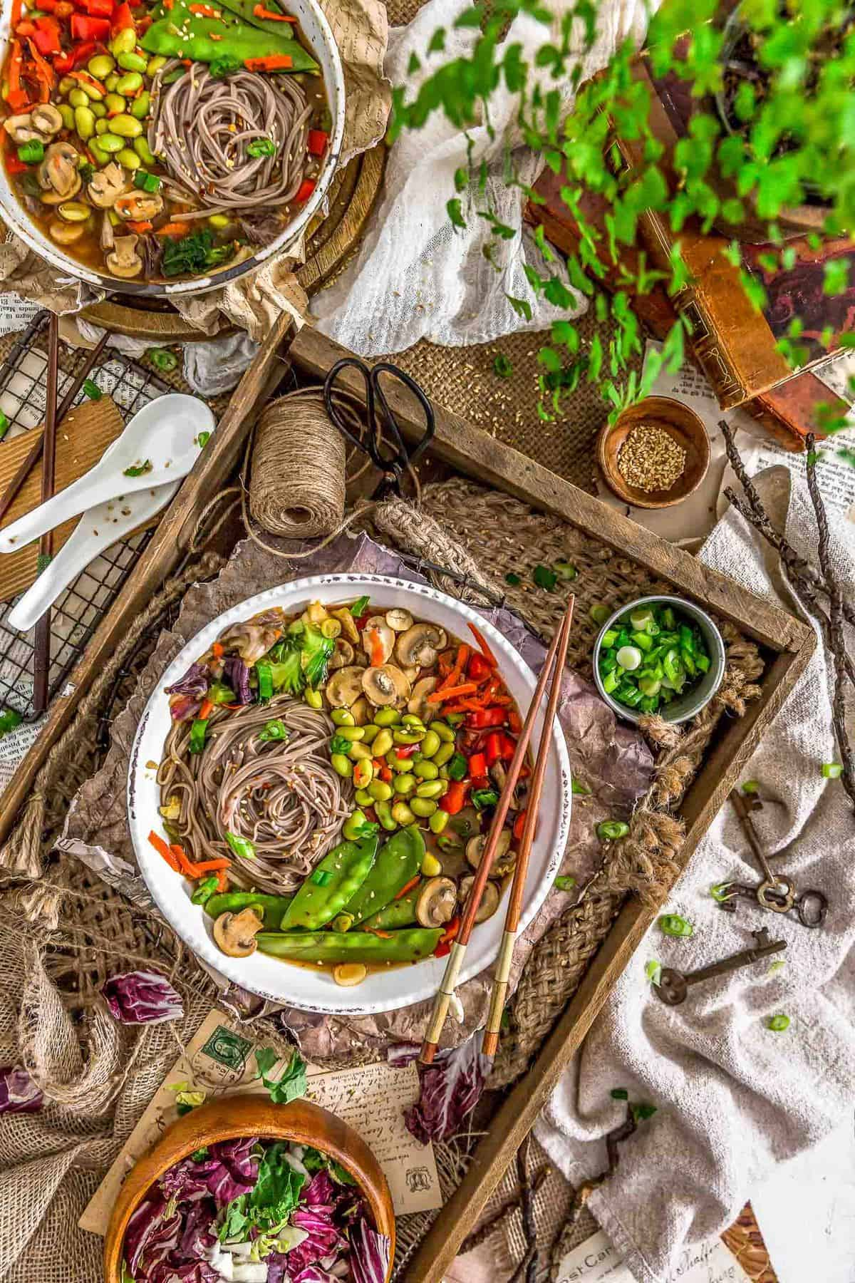 Tablescape of Vegan Veggie Miso Soup