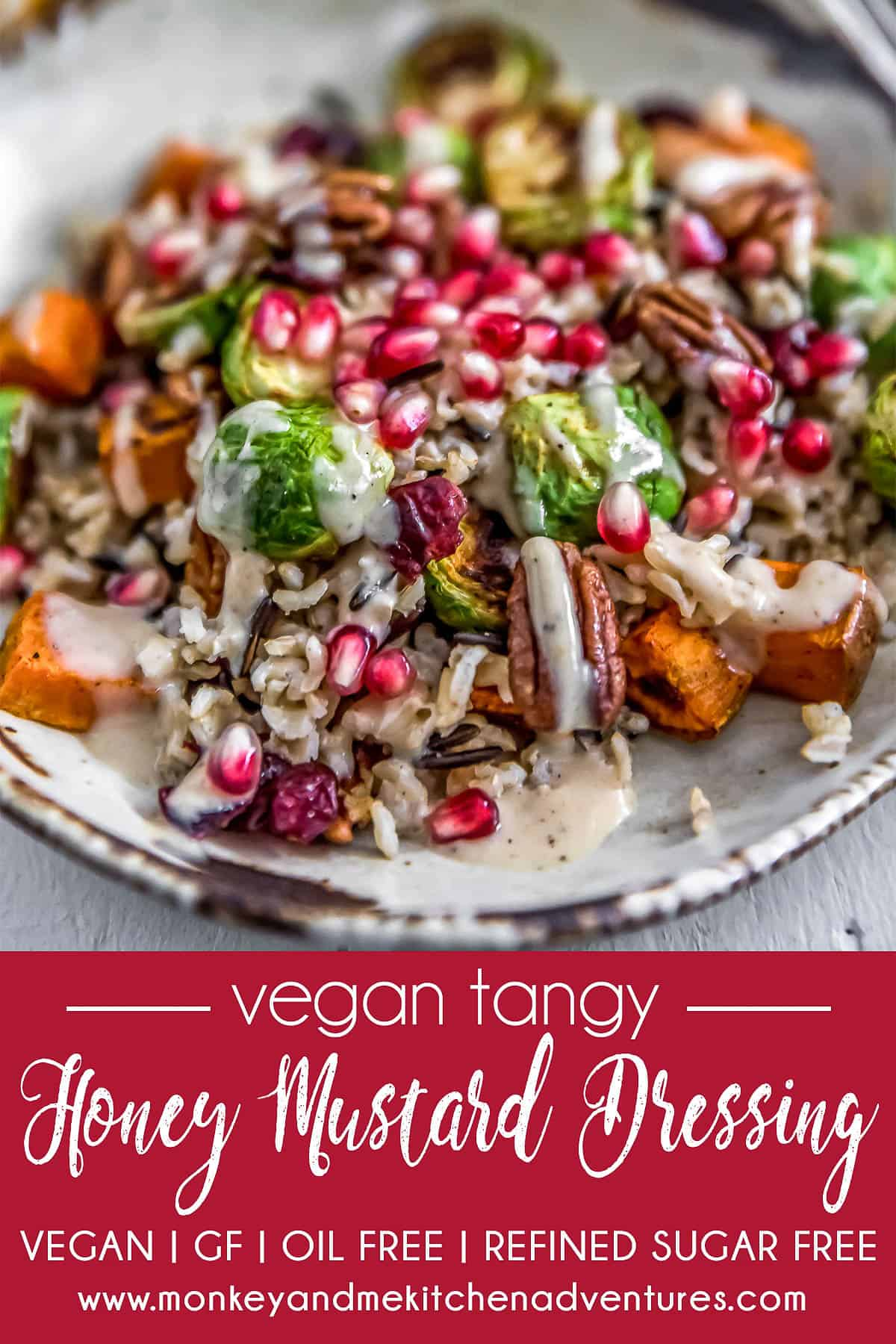 Vegan Tangy Honey Mustard Dressing with text description