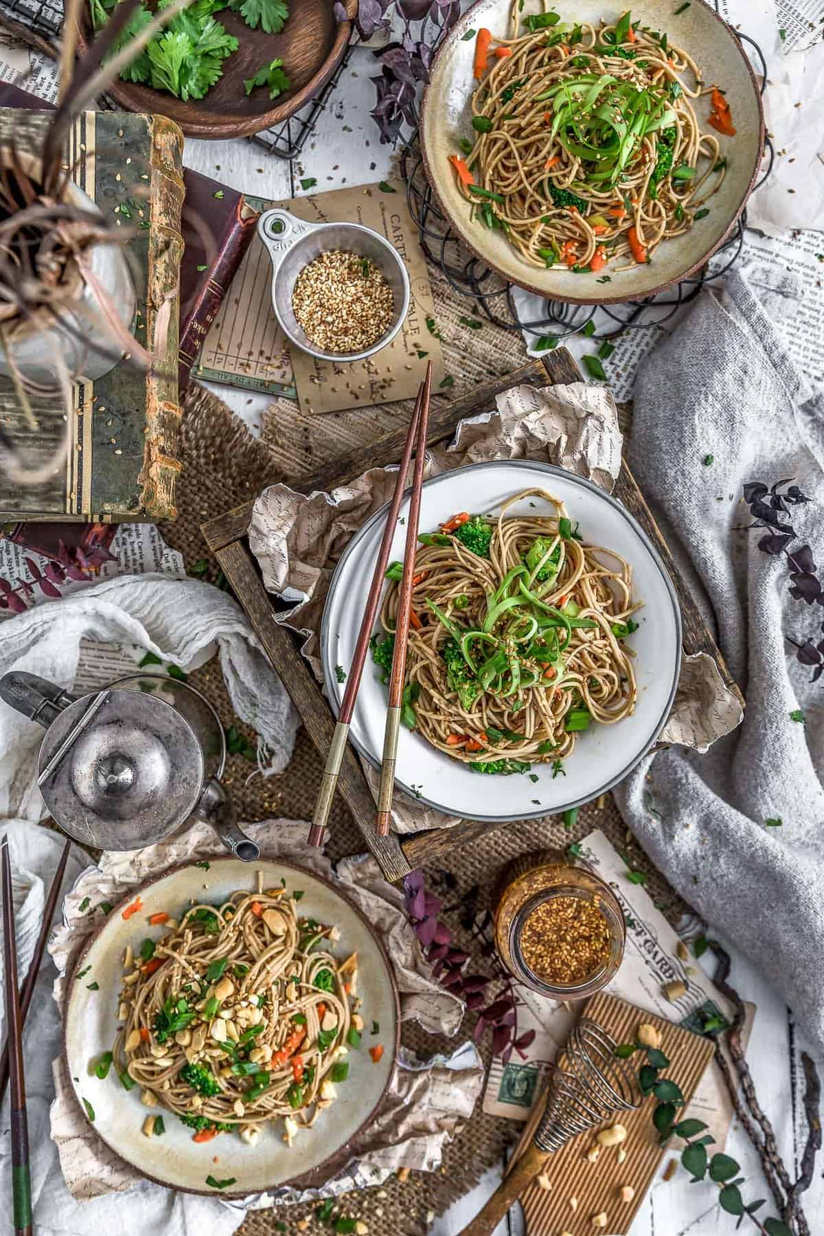 Tablescape of Broccoli Soba Noodle Salad