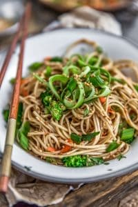 Close up of Broccoli Soba Noodle Salad
