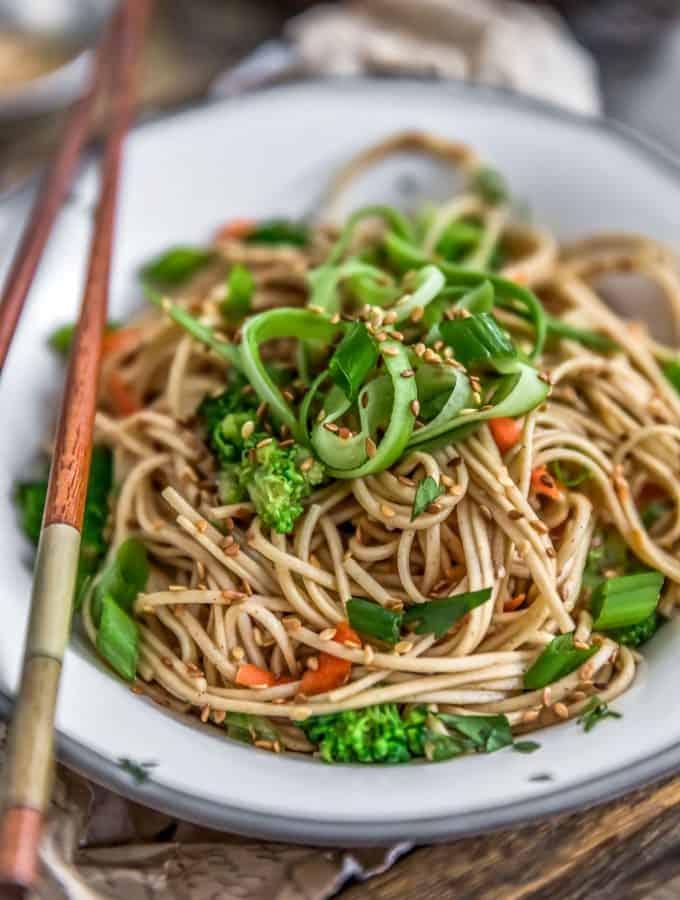 Close up of Broccoli Soba Noodle Salad