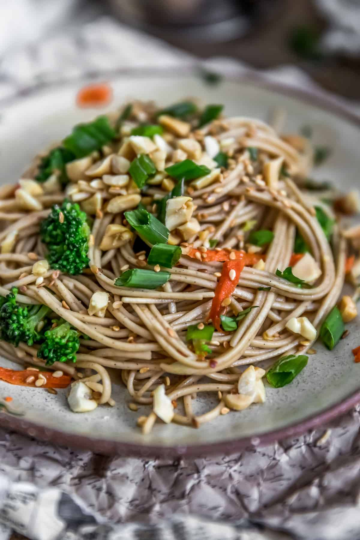 Side view of Broccoli Soba Noodle Salad