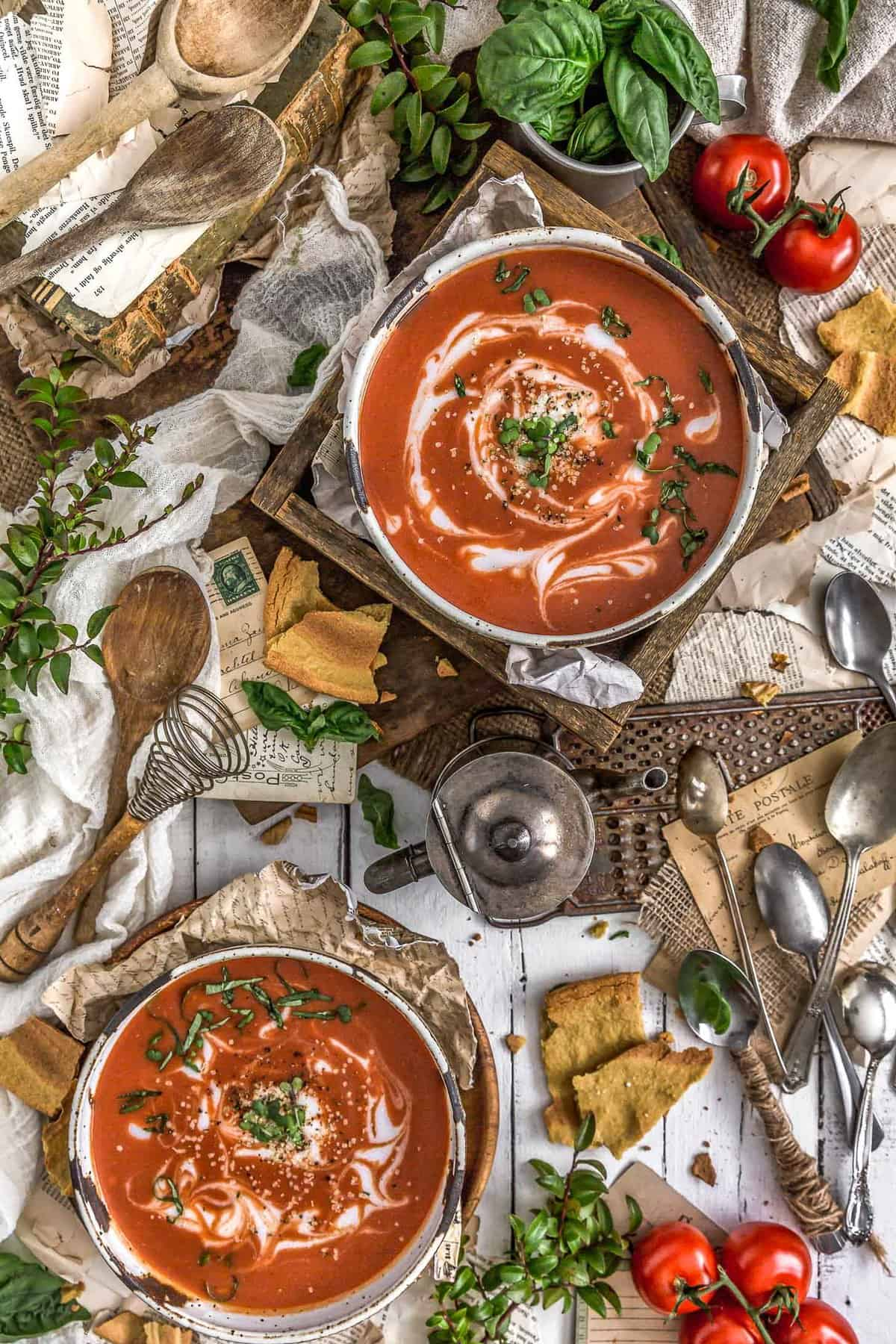 Tablescape of Fast and Easy Tomato Soup