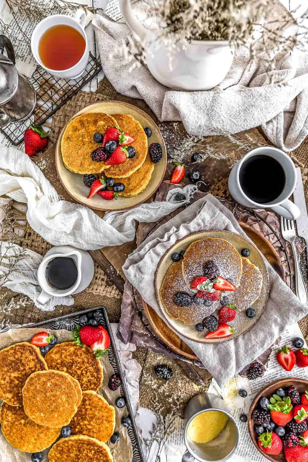 Tablescape of Healthy Vegan Cornmeal Pancakes