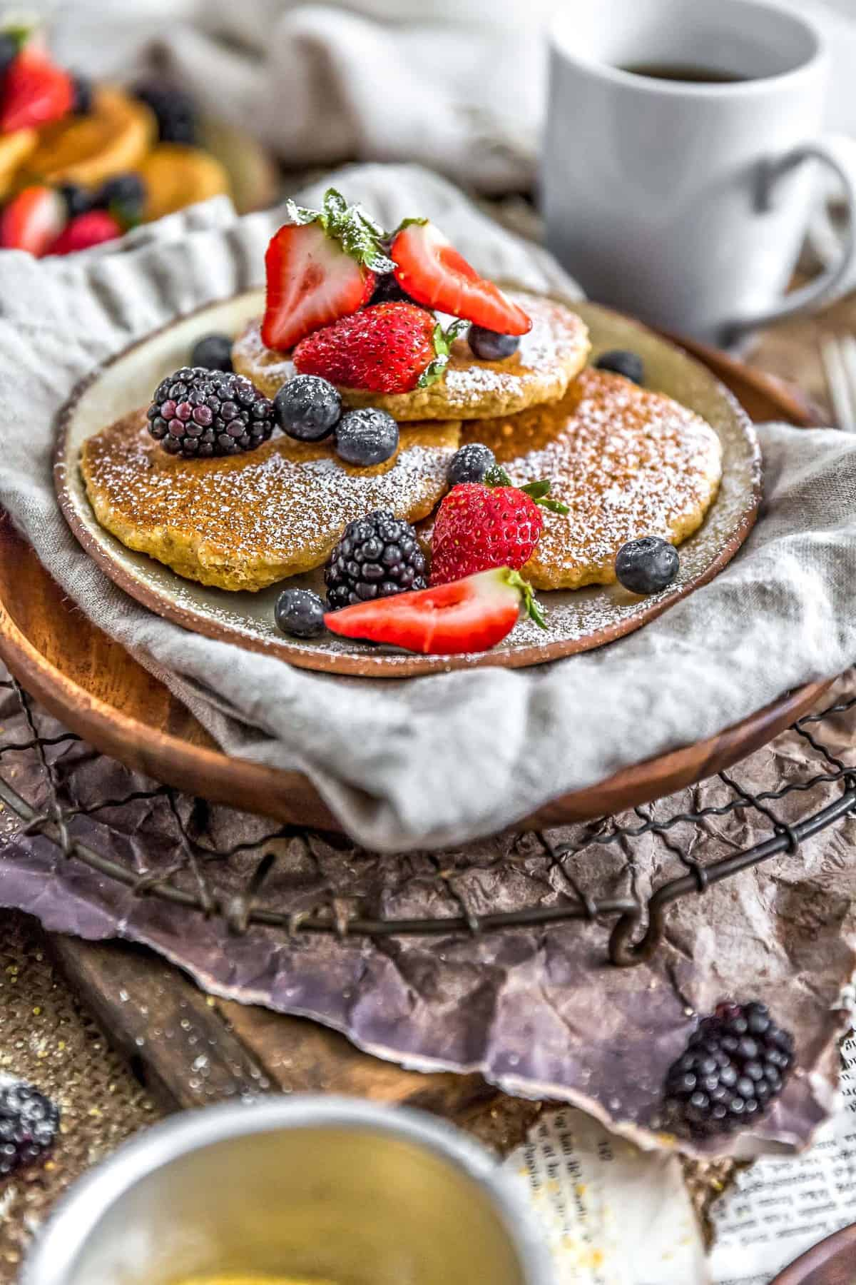 Healthy Vegan Cornmeal Pancakes with fruit