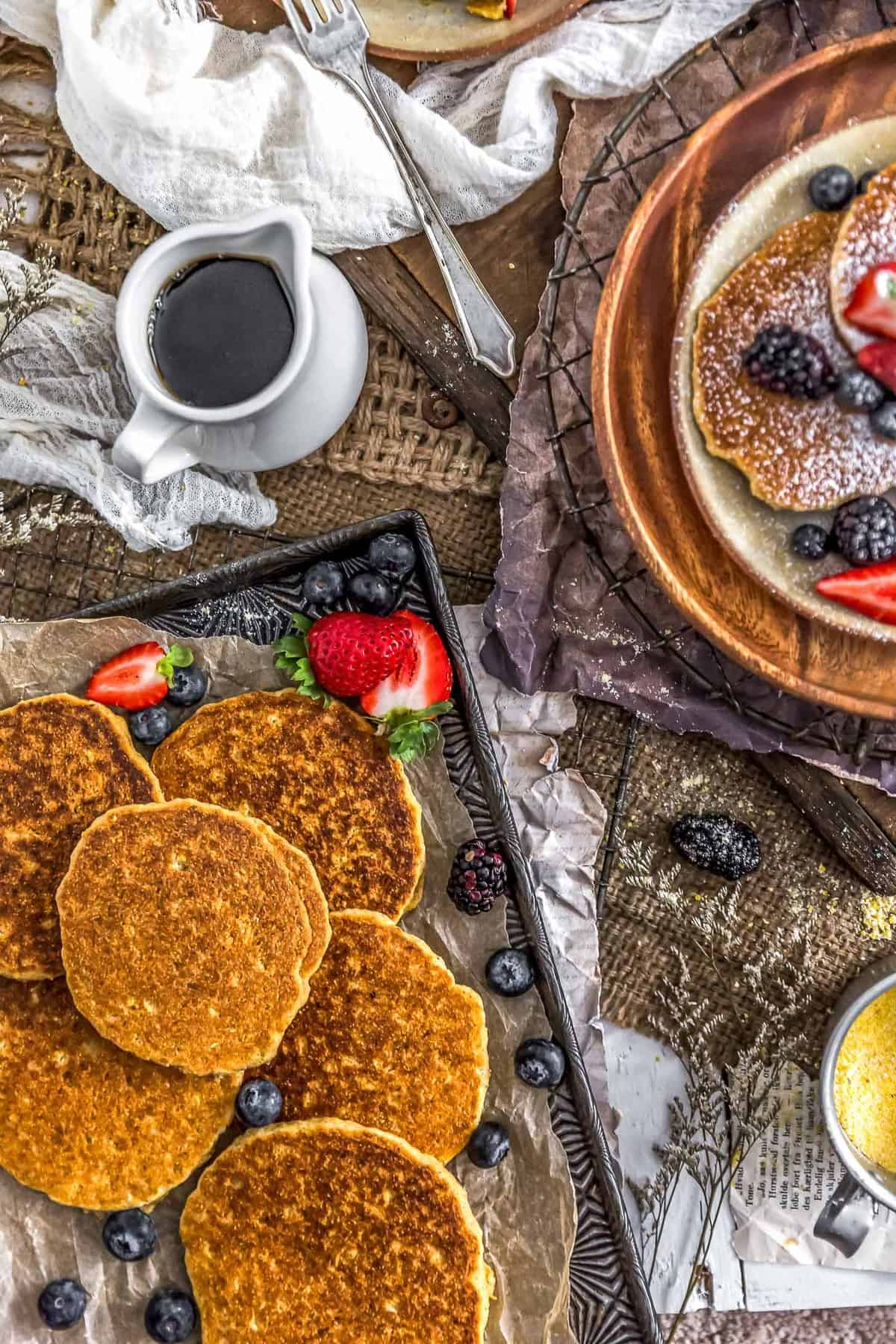 Healthy Vegan Cornmeal Pancakes on a tray