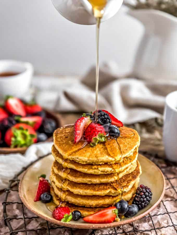 Stack of Healthy Vegan Cornmeal Pancakes