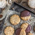 Healthy Vegan Pecan Sandies on a cookie tray