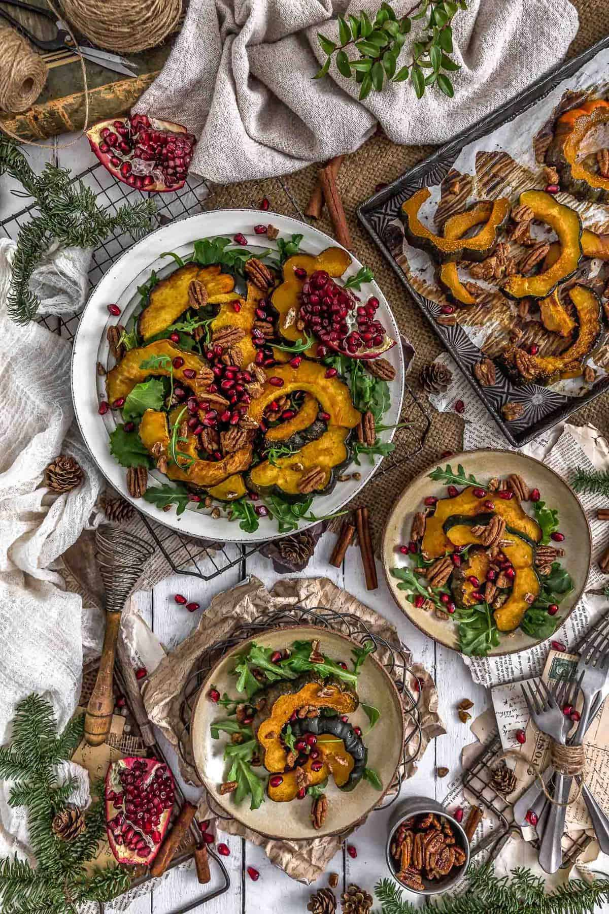 Tablescape of Roasted Maple Glazed Acorn Squash with Cinnamon Pecans