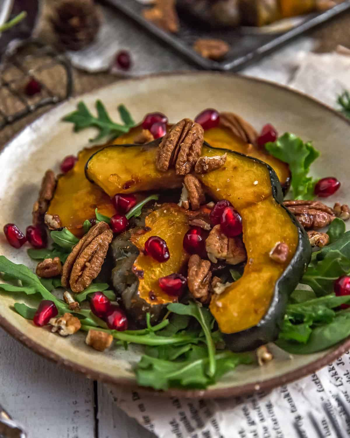 Side of Roasted Maple Glazed Acorn Squash with Cinnamon Pecans