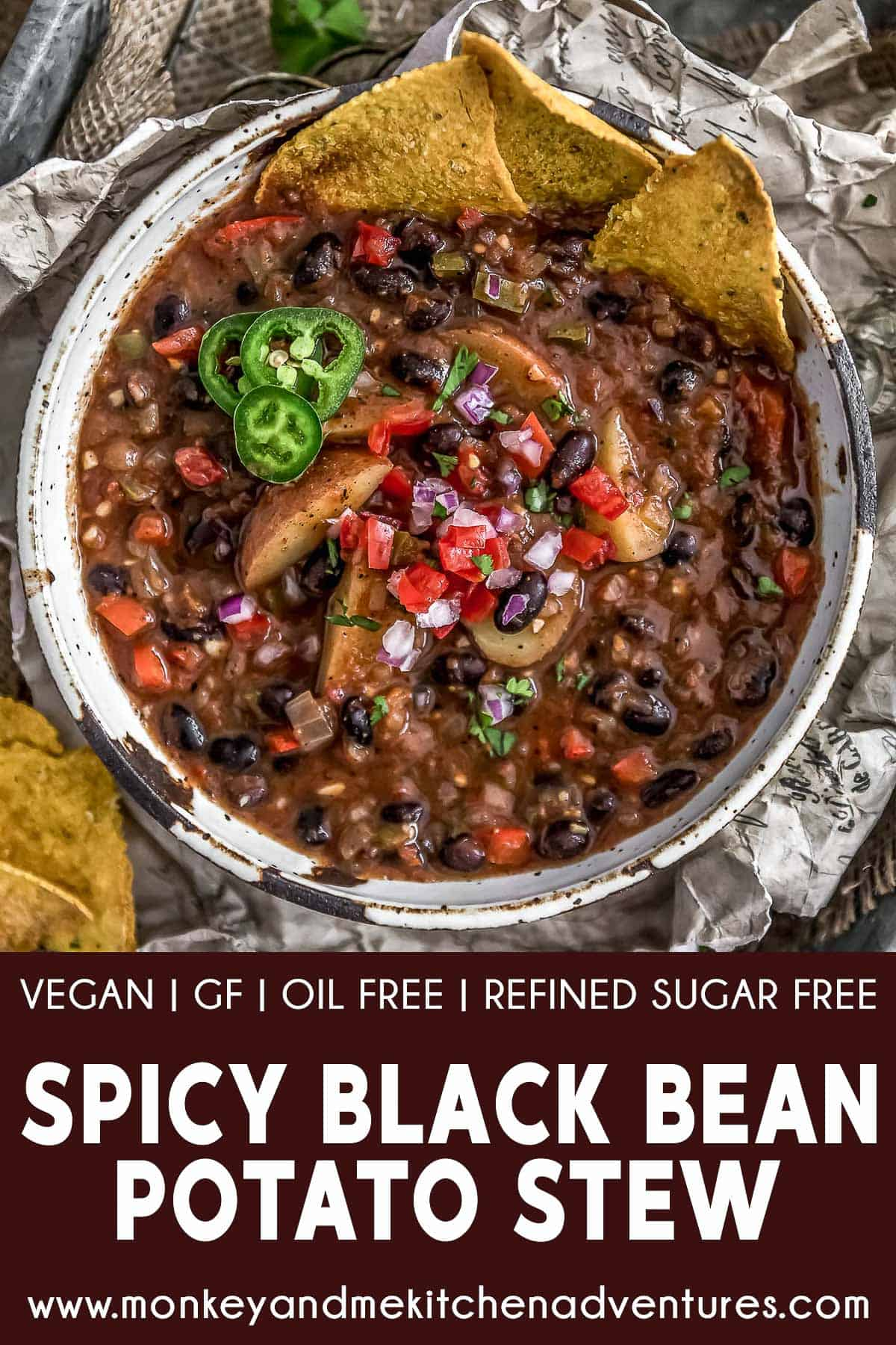Spicy Black Bean Potato Stew with Text Description
