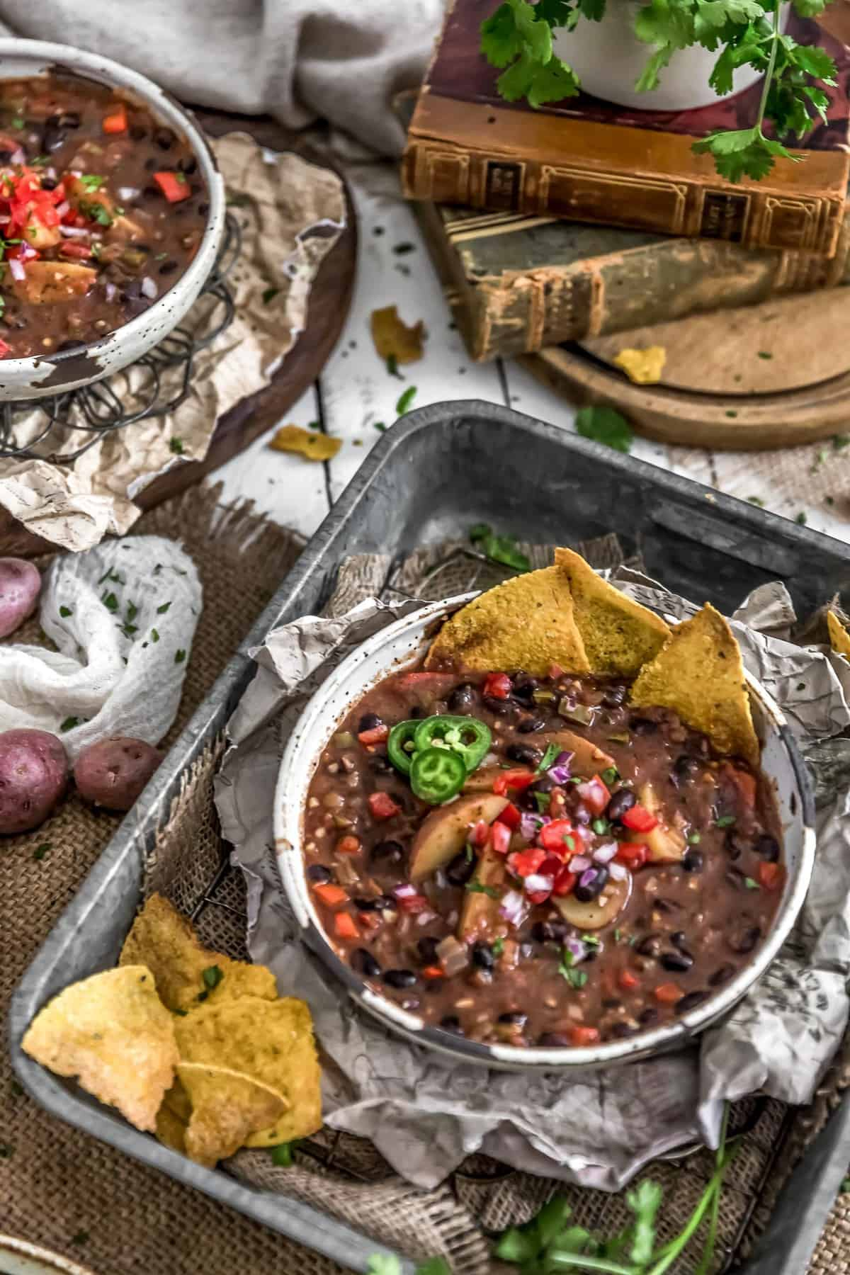 Tablescape of Spicy Black Bean Potato Stew
