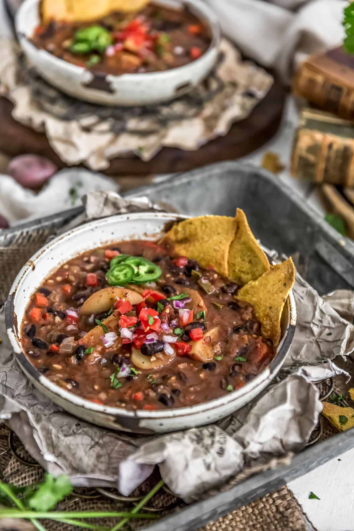 Bowl of Spicy Black Bean Potato Stew