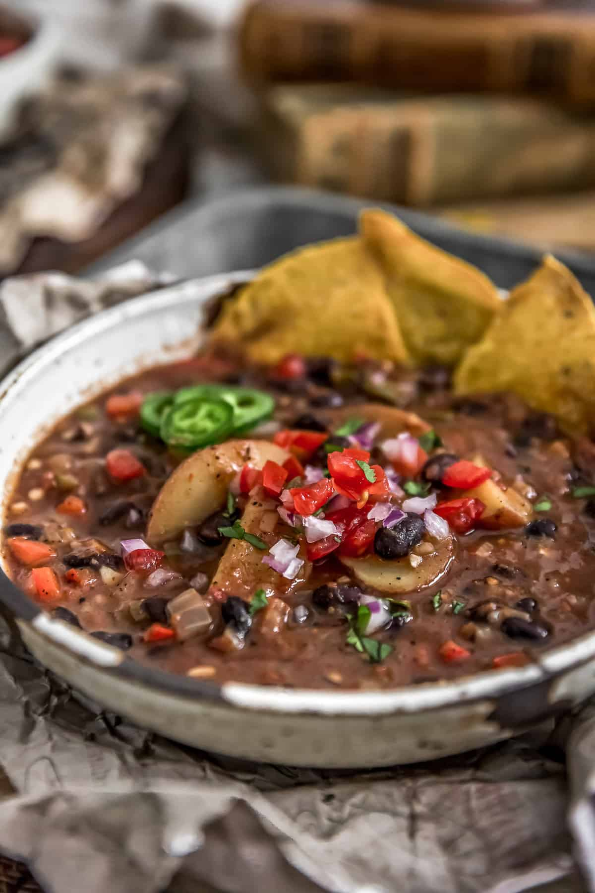 Spicy Black Bean Potato Stew with Tortillas