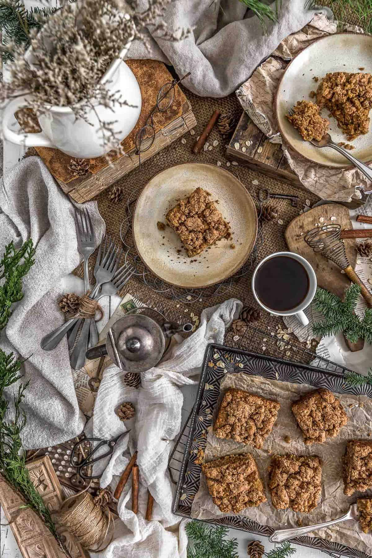 Tablescape Vegan Cinnamon Crumble Coffee Cake