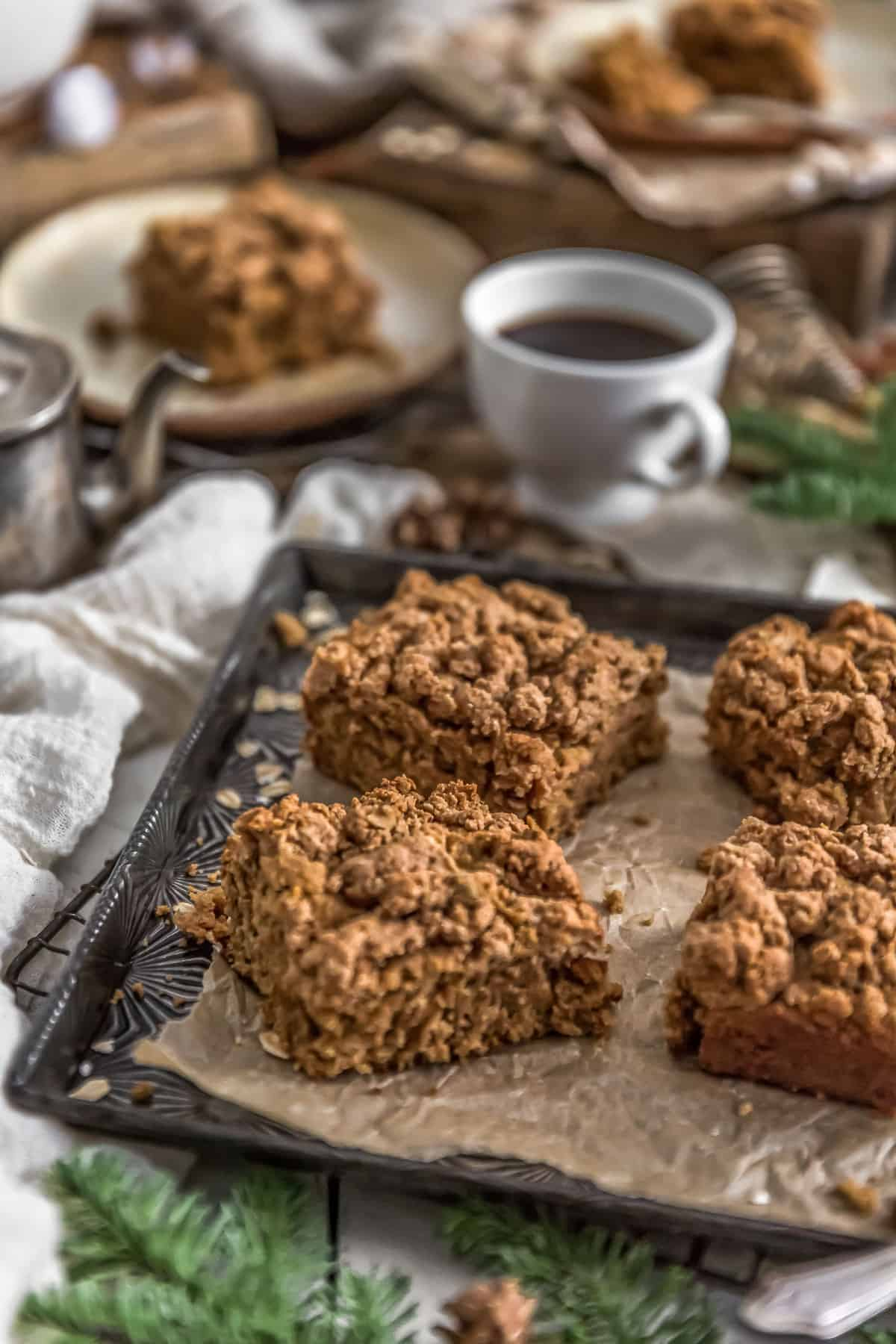 Vegan Cinnamon Crumble Coffee Cake with coffee