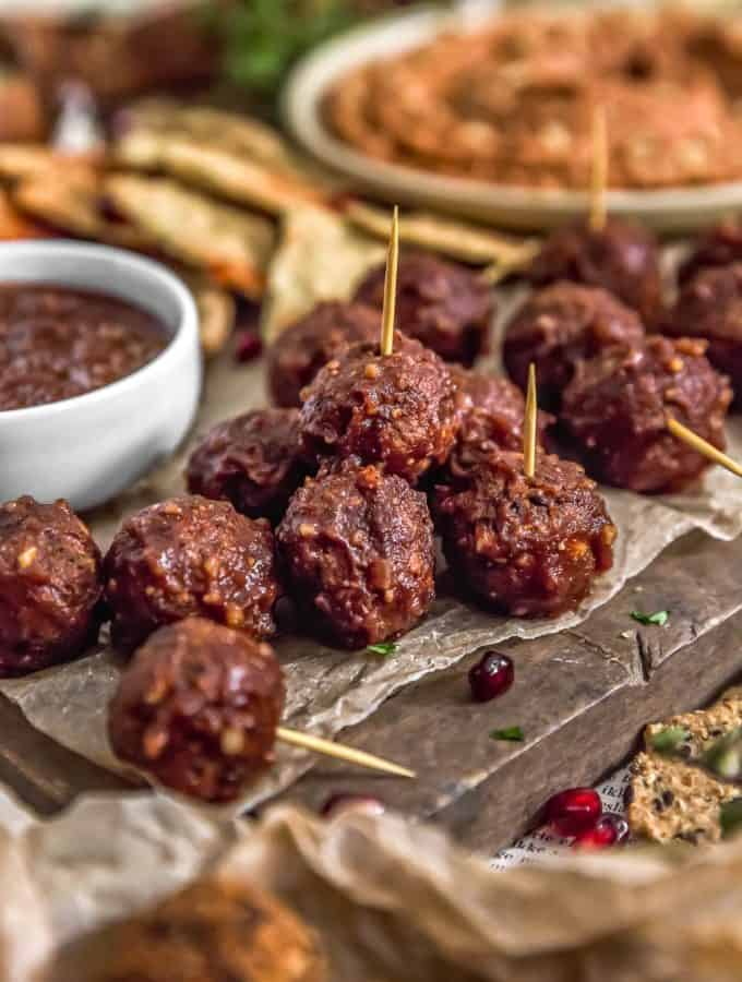 Close up of Vegan Cocktail Meatballs with Healthy Chili Sauce