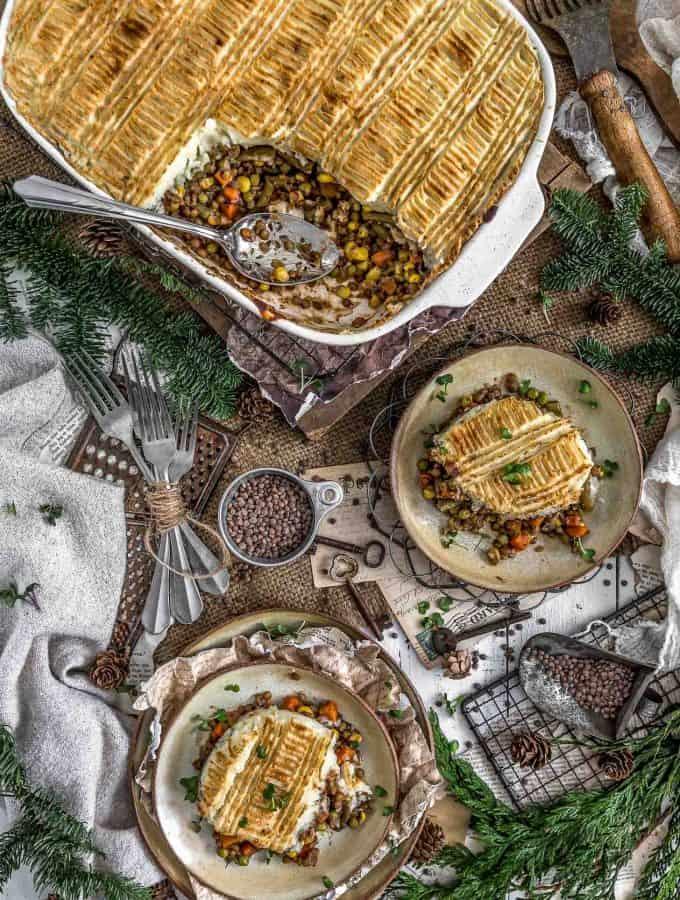 Tablescape of Vegan Lentil Shepherds Pie
