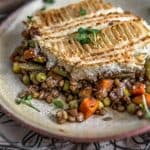 Plated Vegan Lentil Shepherds Pie