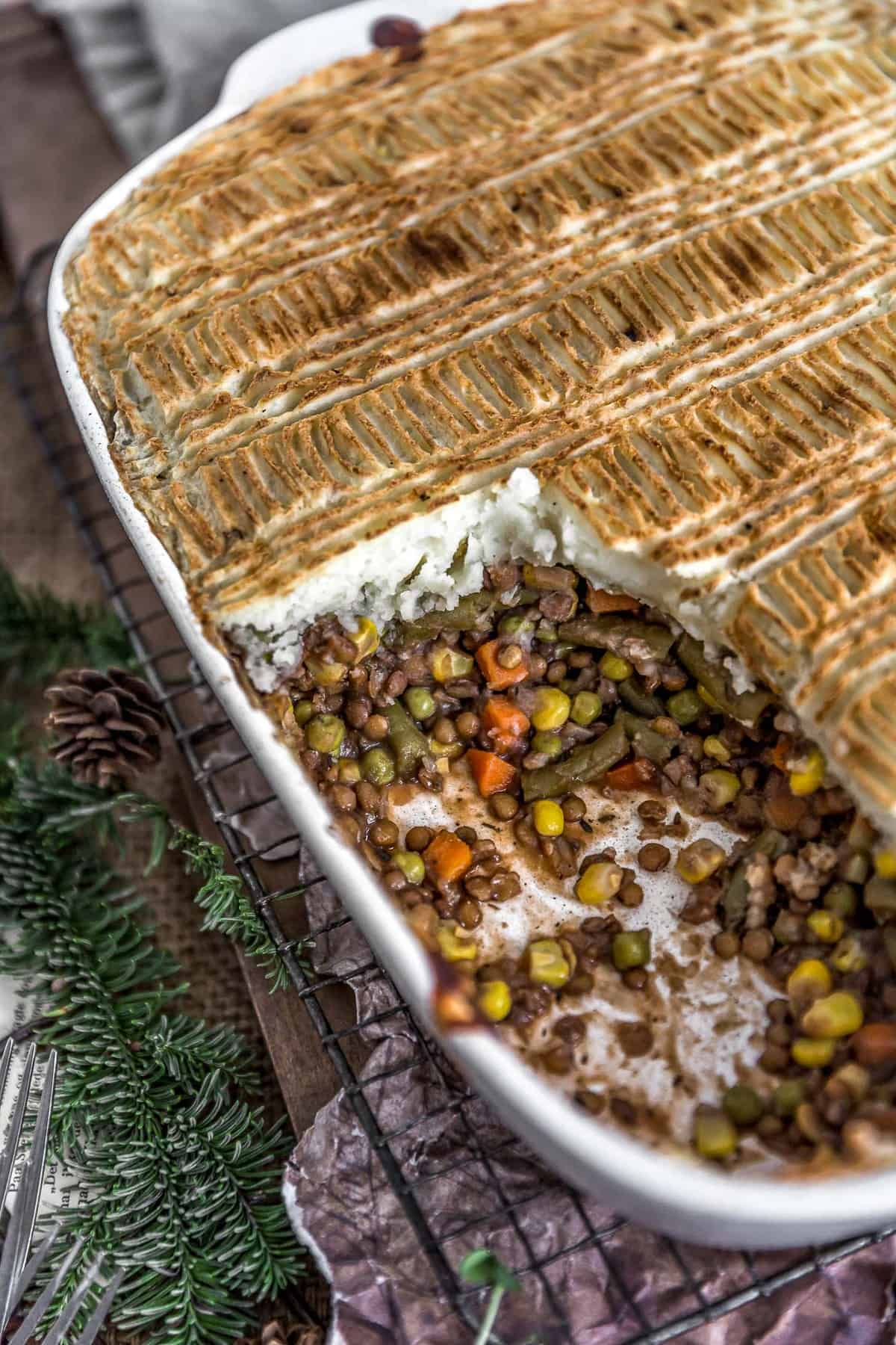 Dish of Vegan Lentil Shepherds Pie