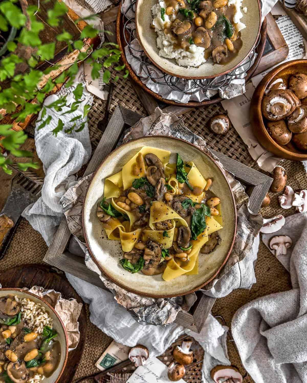 Tablescape of Vegan Mushroom Spinach Stroganoff
