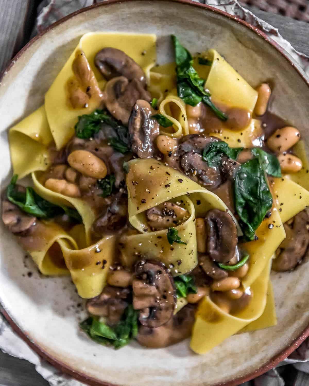 Vegan Mushroom Spinach Stroganoff with pasta