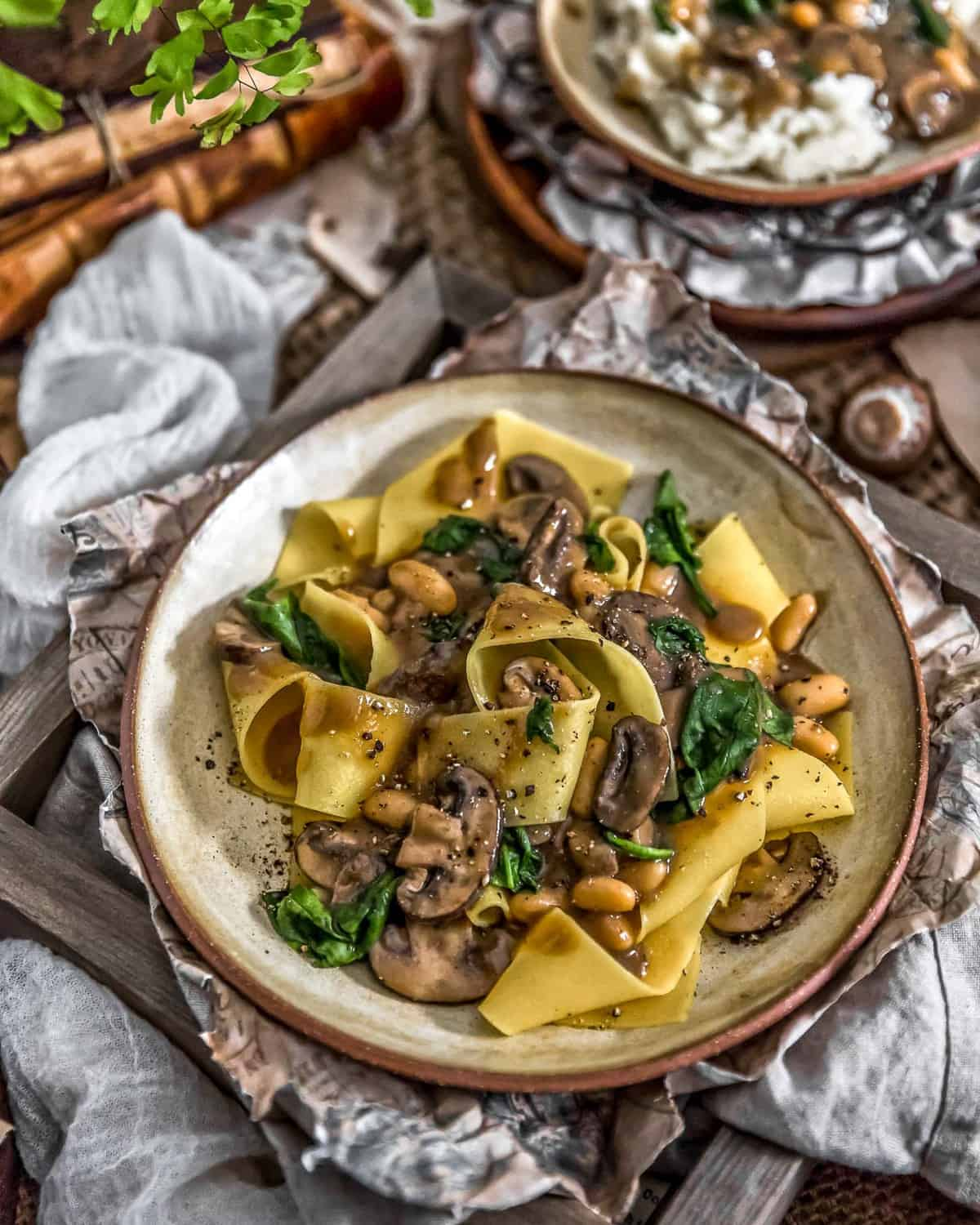 Vegan Mushroom Spinach Stroganoff with Pasta