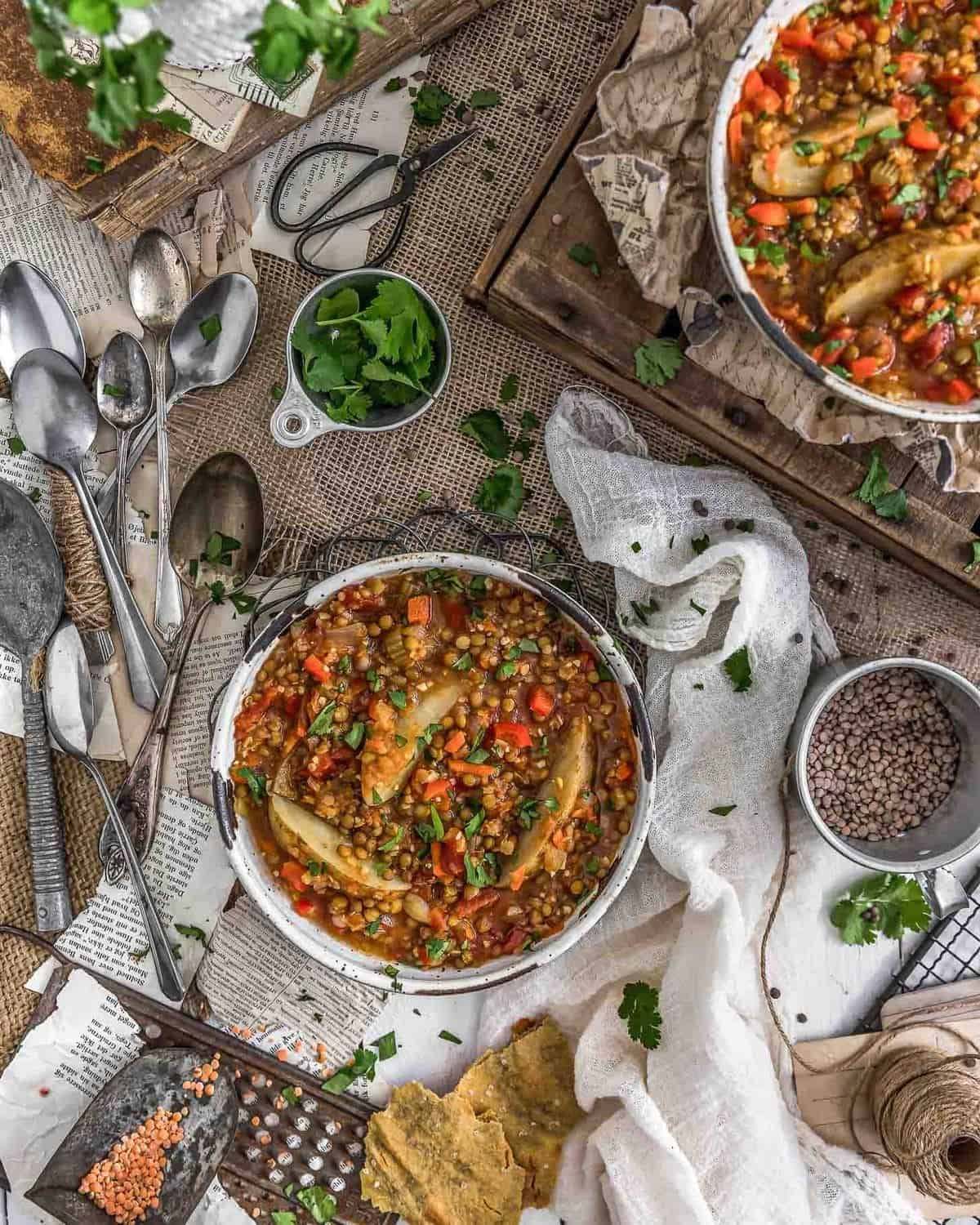 Tablescape of Vegan Two Lentil Potato Stew