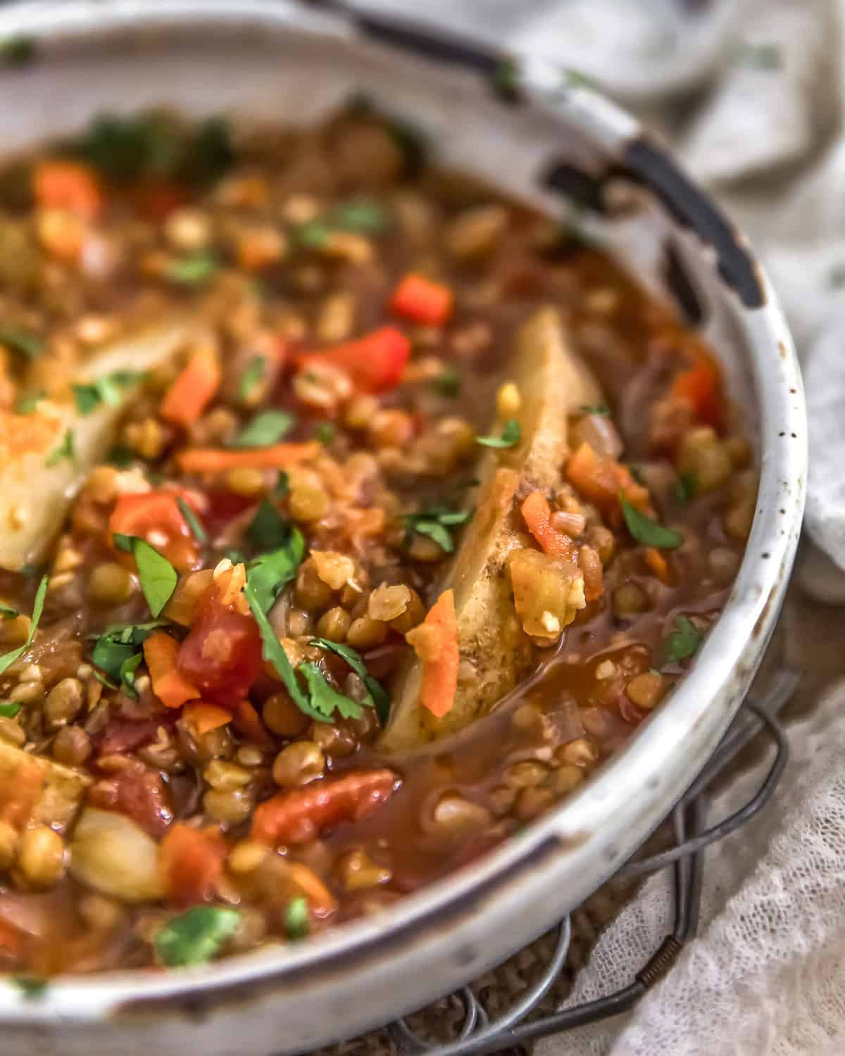 Close up of Vegan Two Lentil Potato Stew