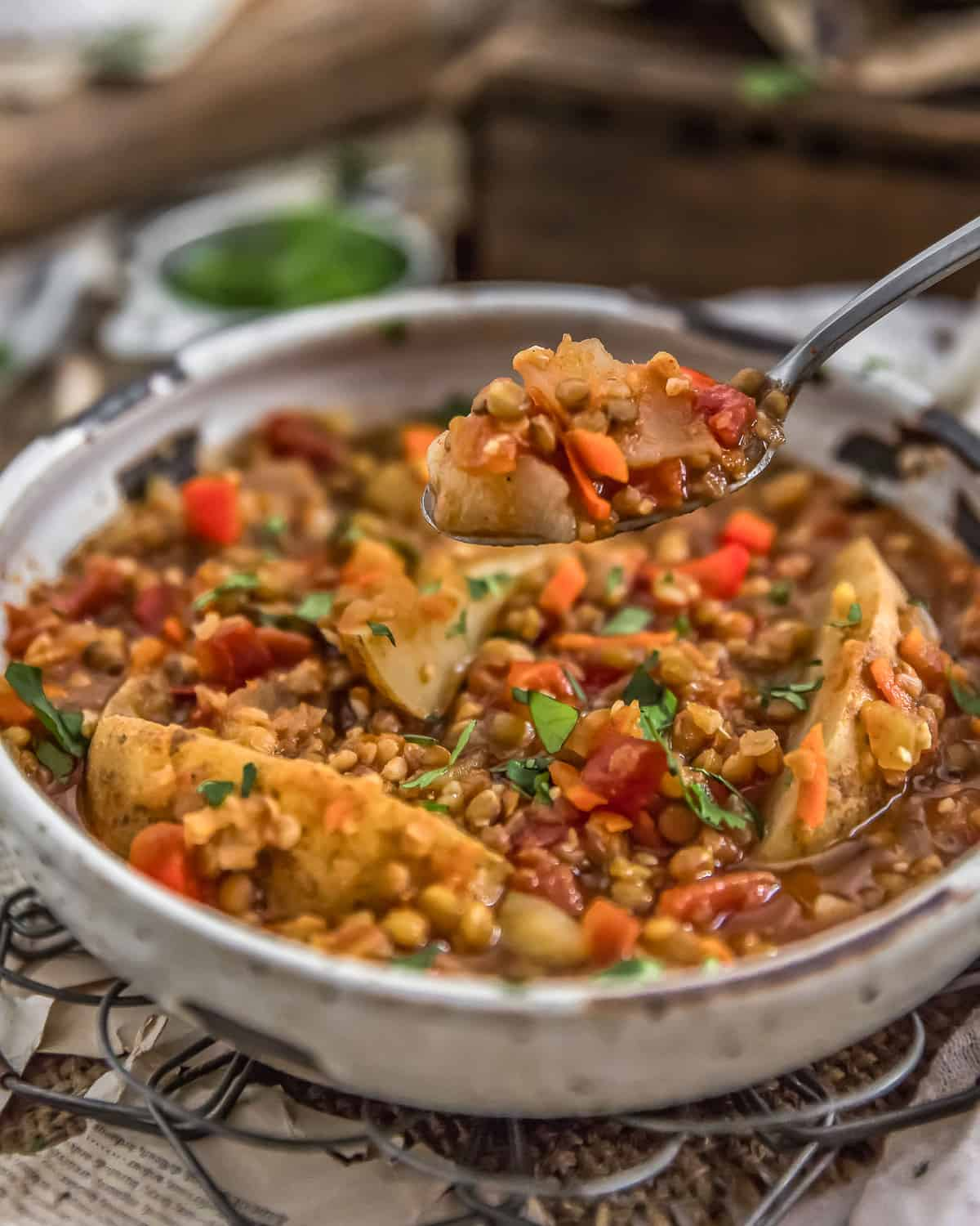 Vegan Two Lentil Potato Stew