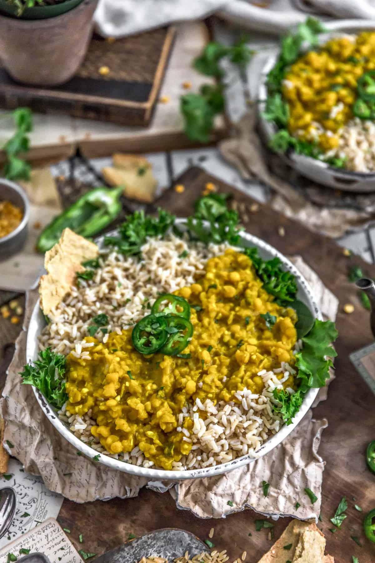 Tablescape of Ethiopian Yellow Split Pea Stew