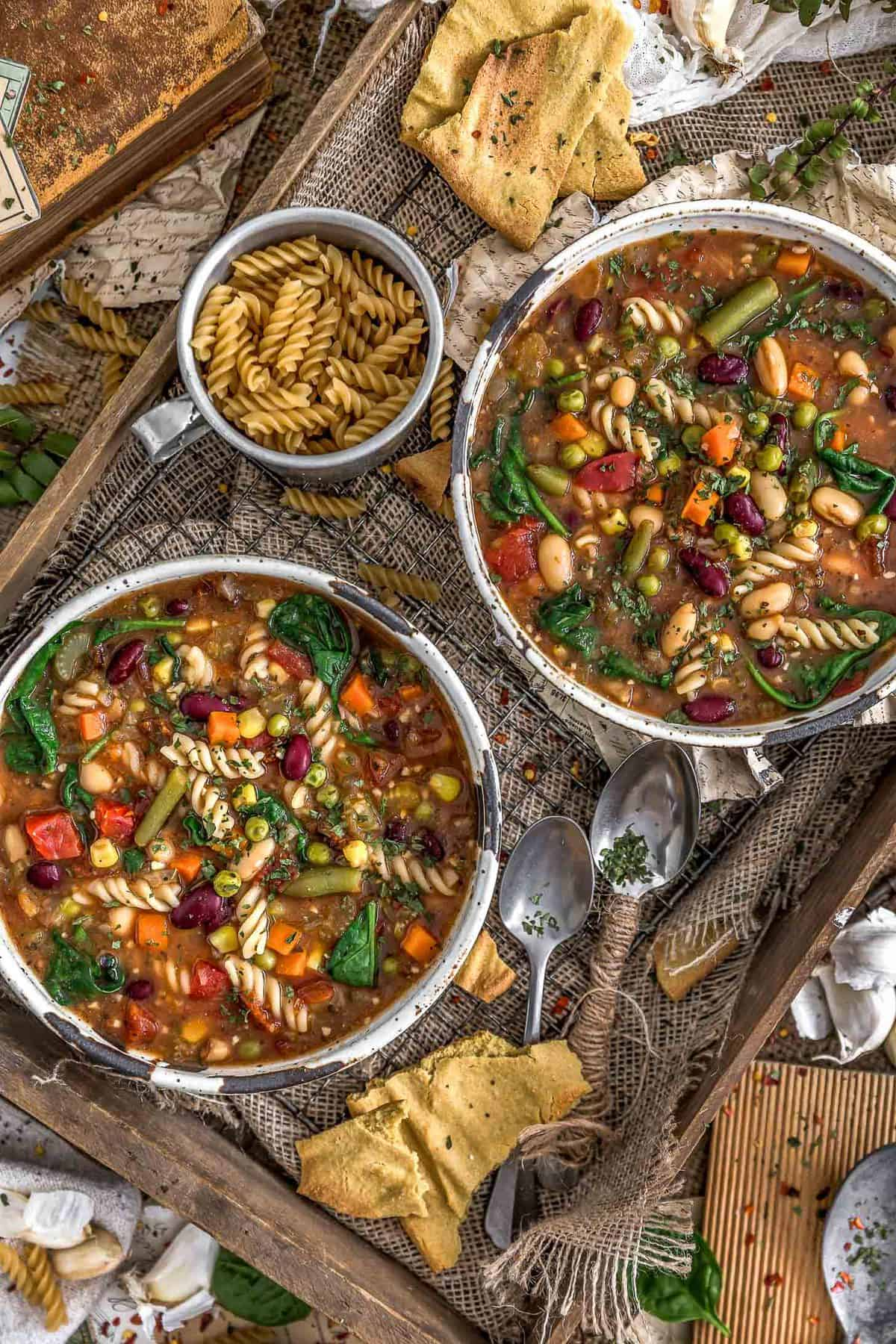 Tablescape of Healthy Minestrone Soup