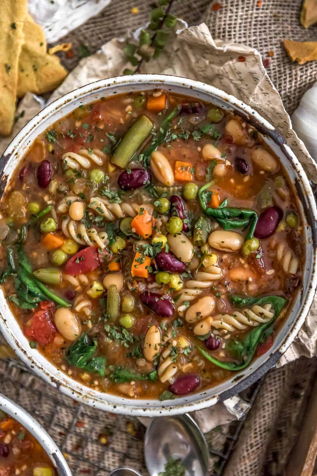 Close up of Healthy Minestrone Soup