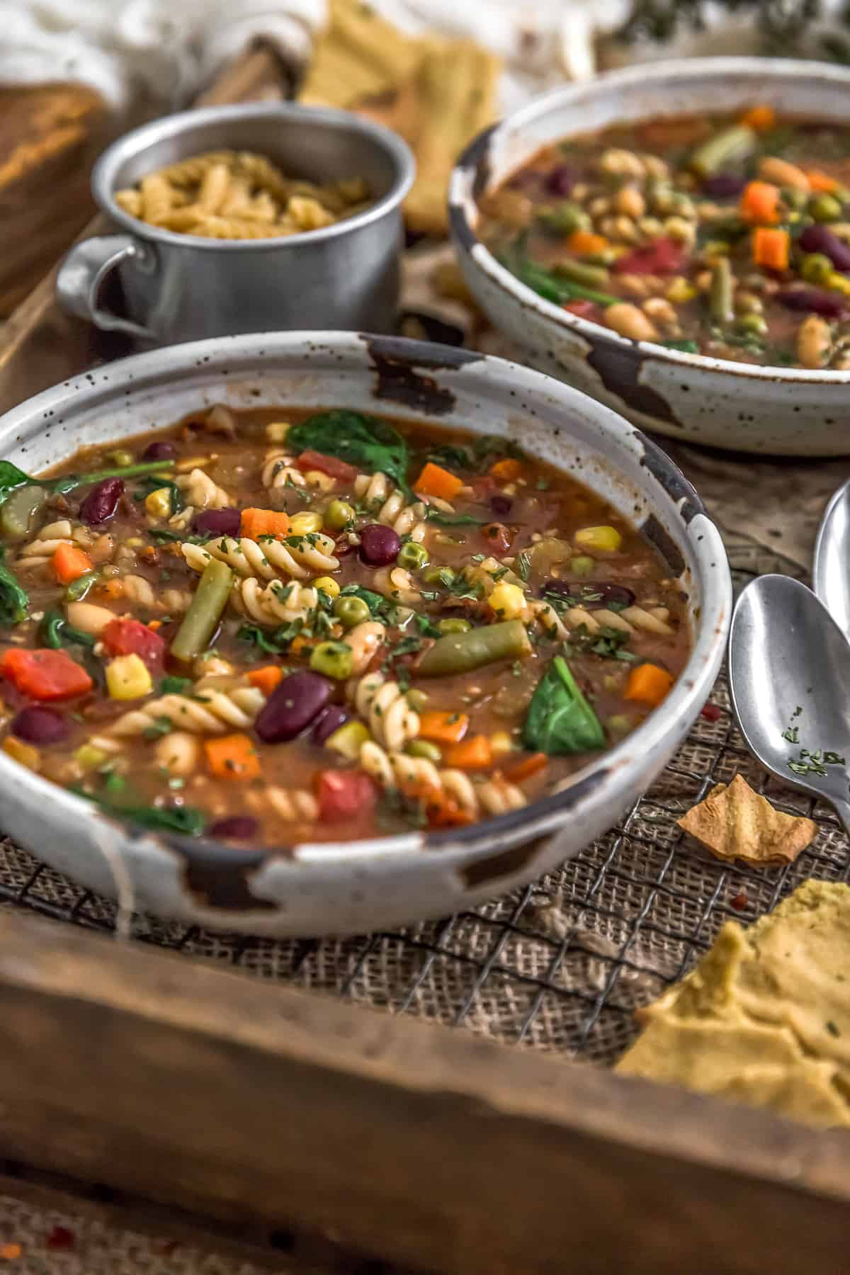 Side view of Healthy Minestrone Soup