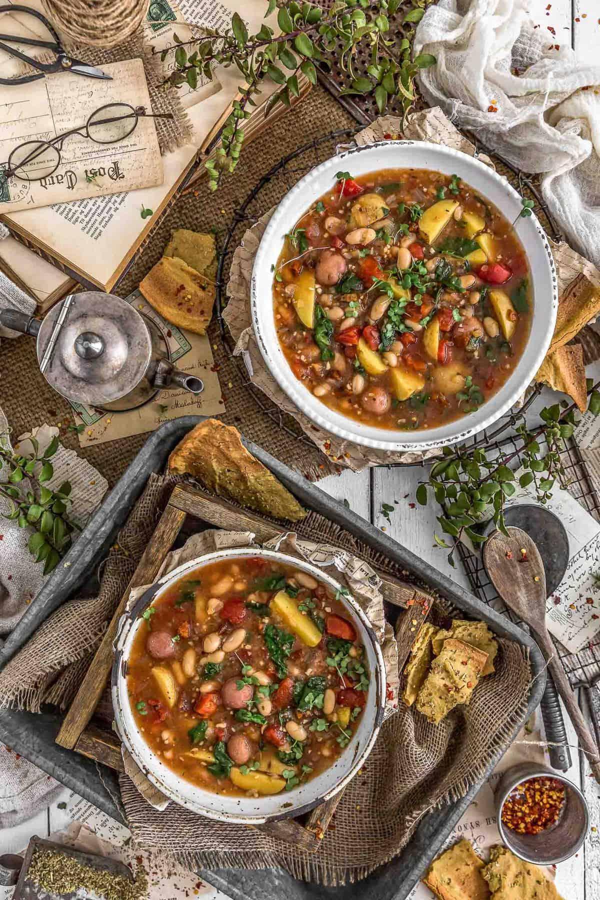 Tablescape of Italian Sundried Tomato Potato Soup