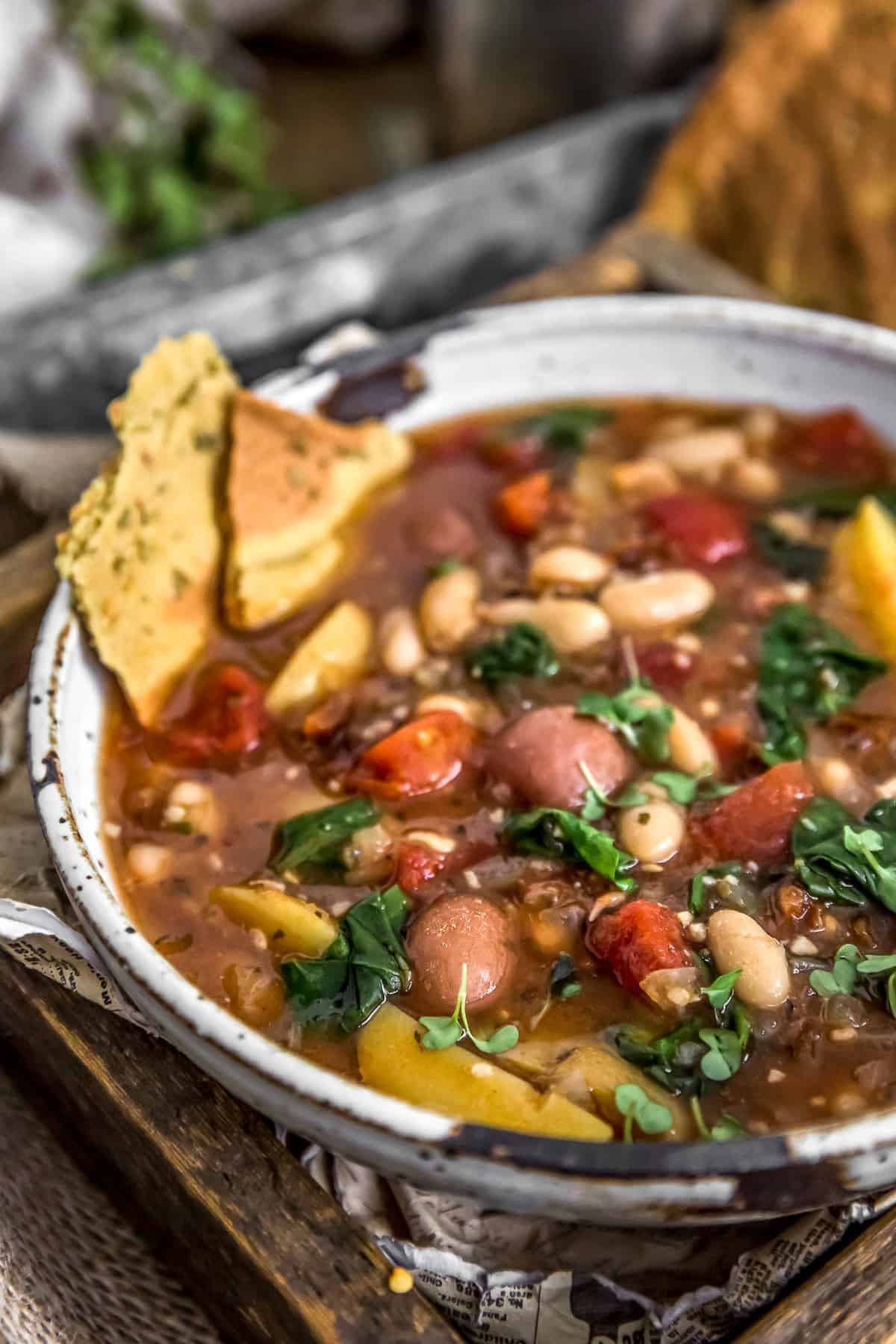 Close up of Italian Sundried Tomato Potato Soup