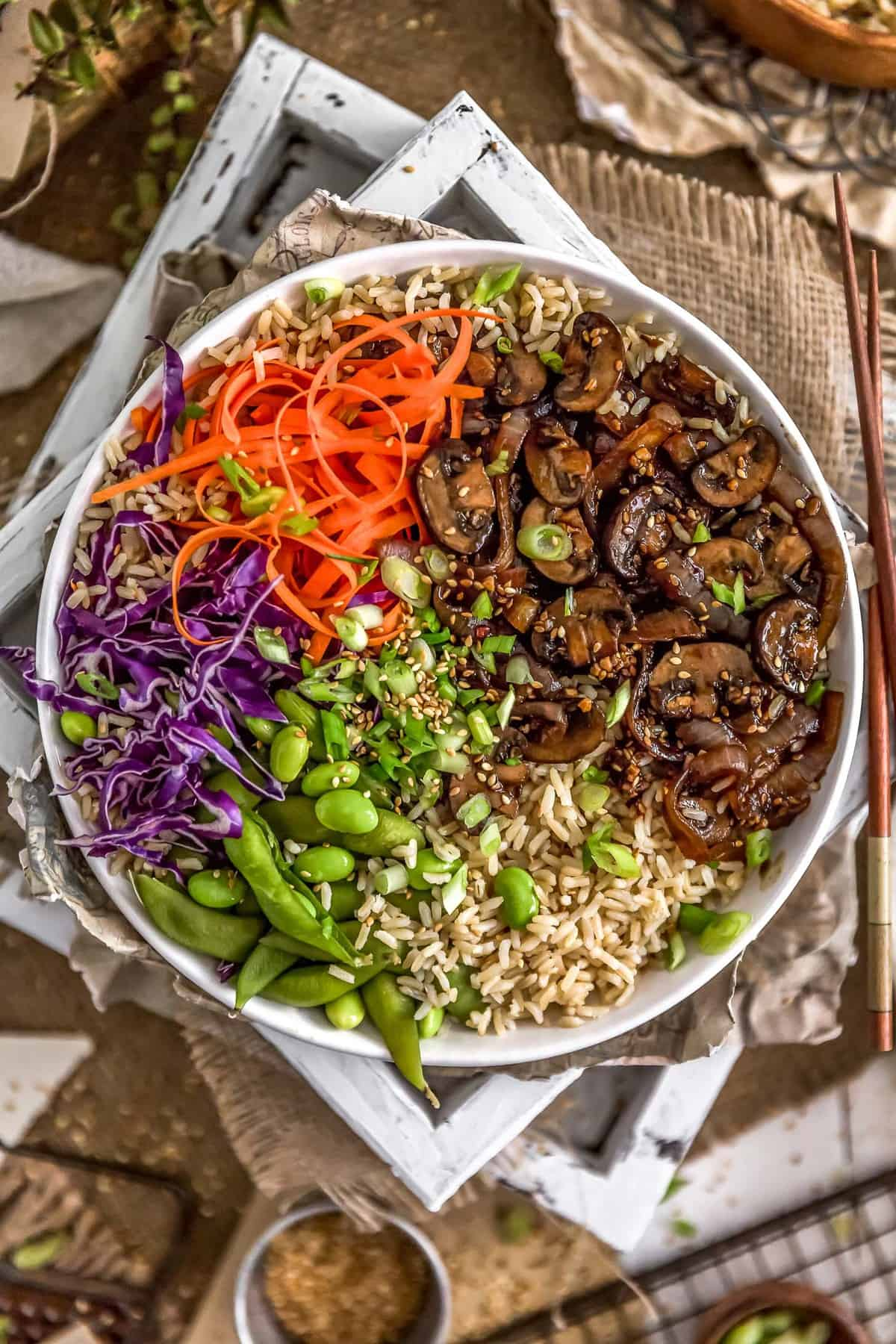 Veggie Bowl with Mongolian Mushrooms and Onions