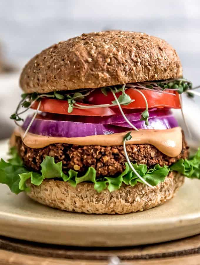 Ultimate Healthy Vegan Black Bean Burger with Special Burger Sauce
