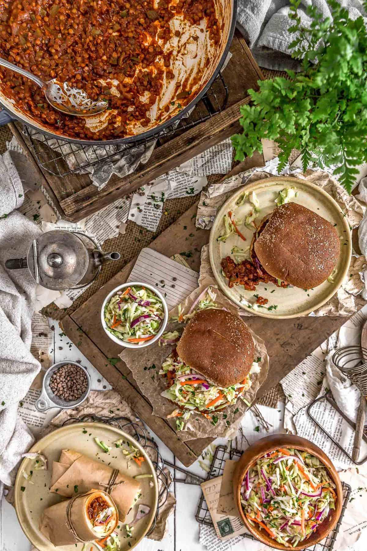 Tablescape of Vegan BBQ Lentil Sloppy Joes
