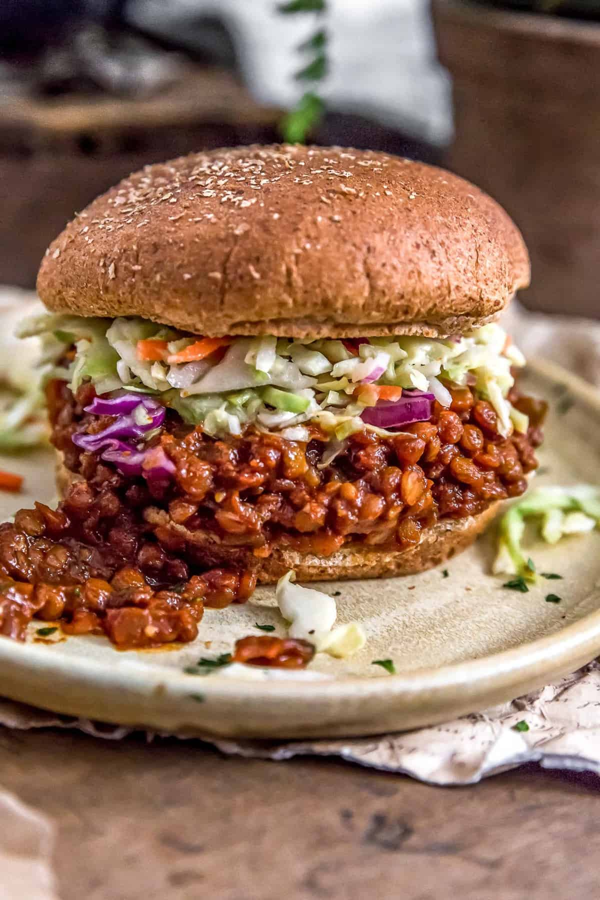 Vegan BBQ Lentil Sloppy Joes with Sweet and Tangy Vinegar Coleslaw