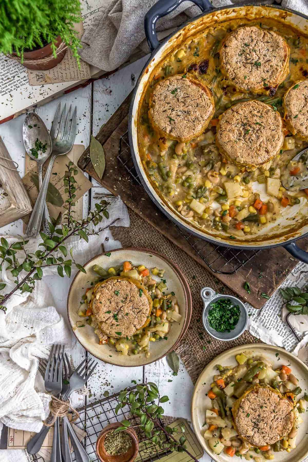 Tablescape of Vegan Biscuit Pot Pie