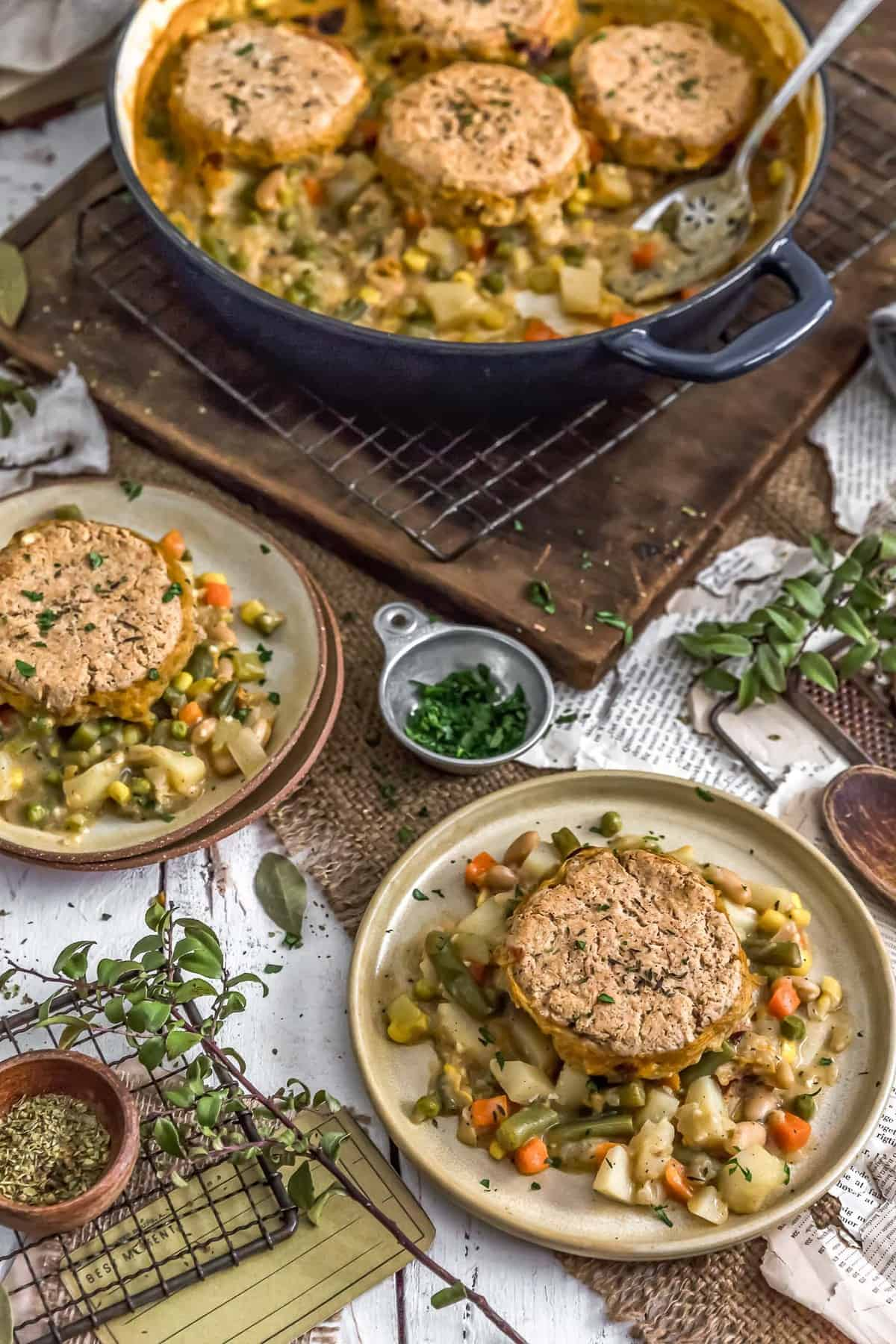 Plates of Vegan Biscuit Pot Pie