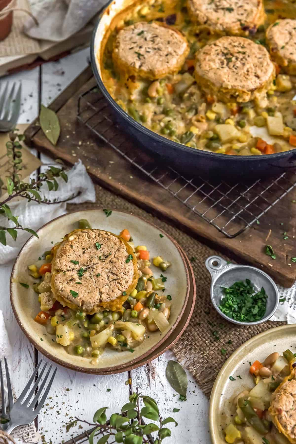 Vegan Biscuit Pot Pie in a dish