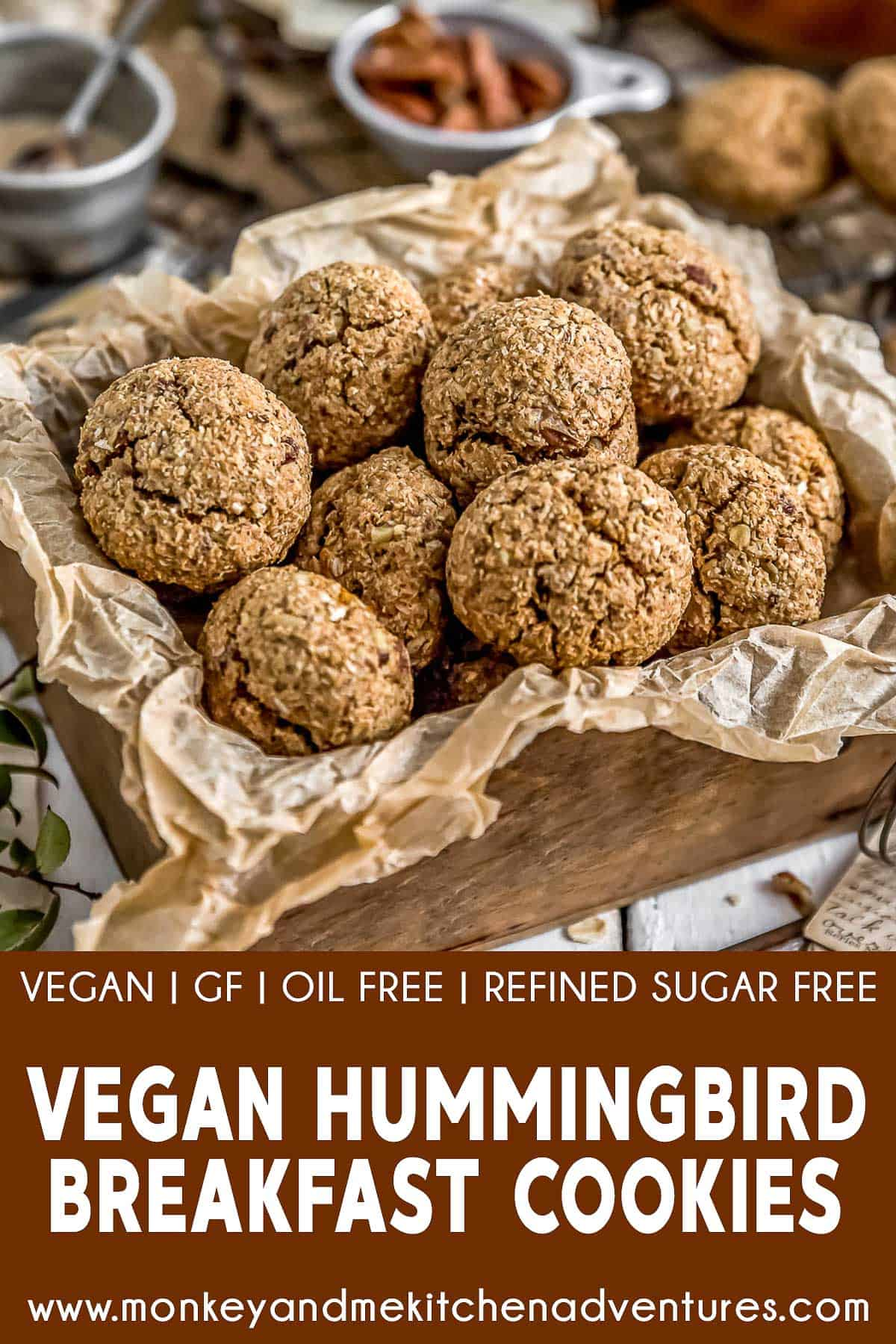 Vegan Hummingbird Breakfast Cookies with Text Description
