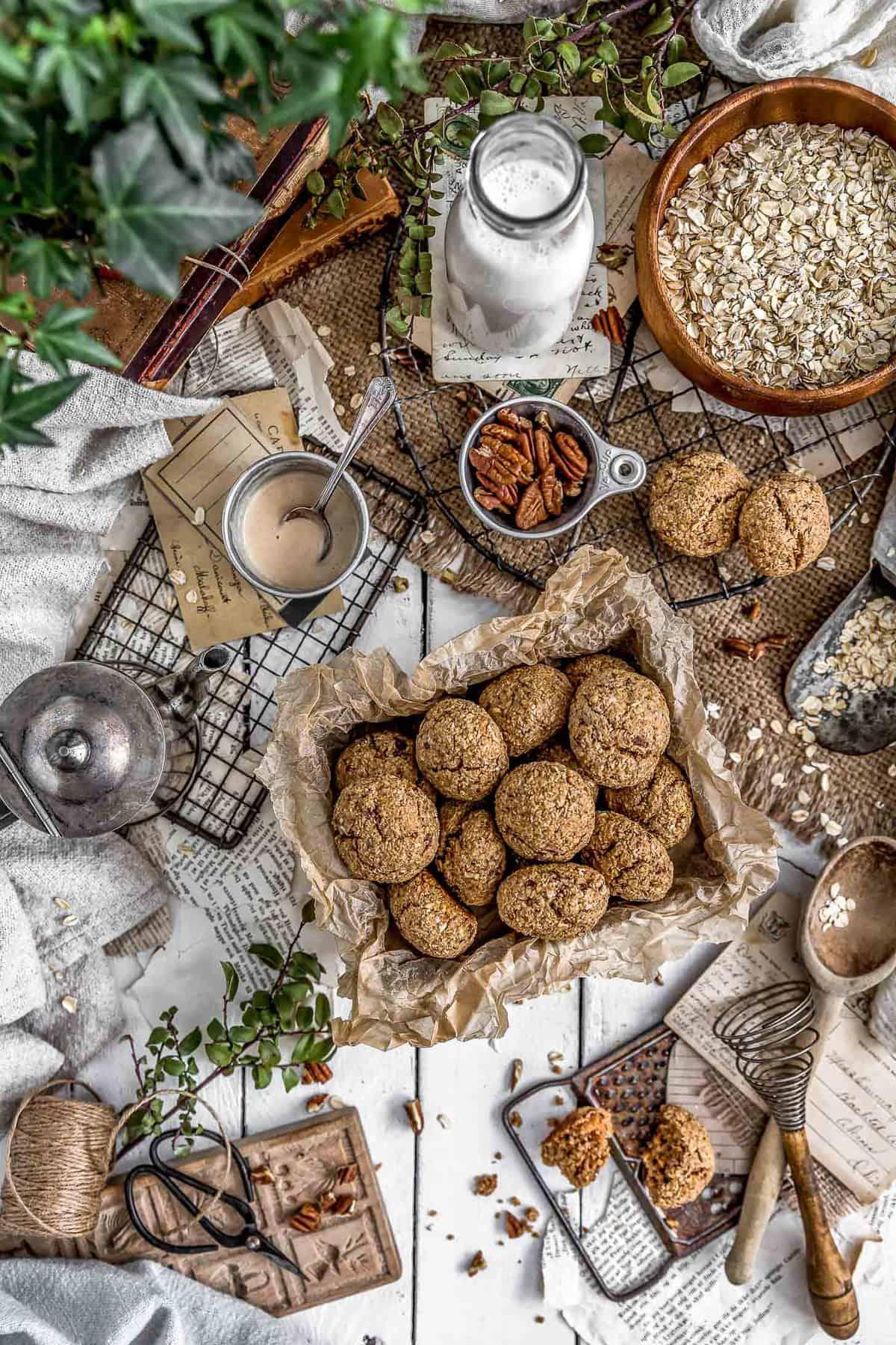 Tablescape of Vegan Hummingbird Breakfast Cookies