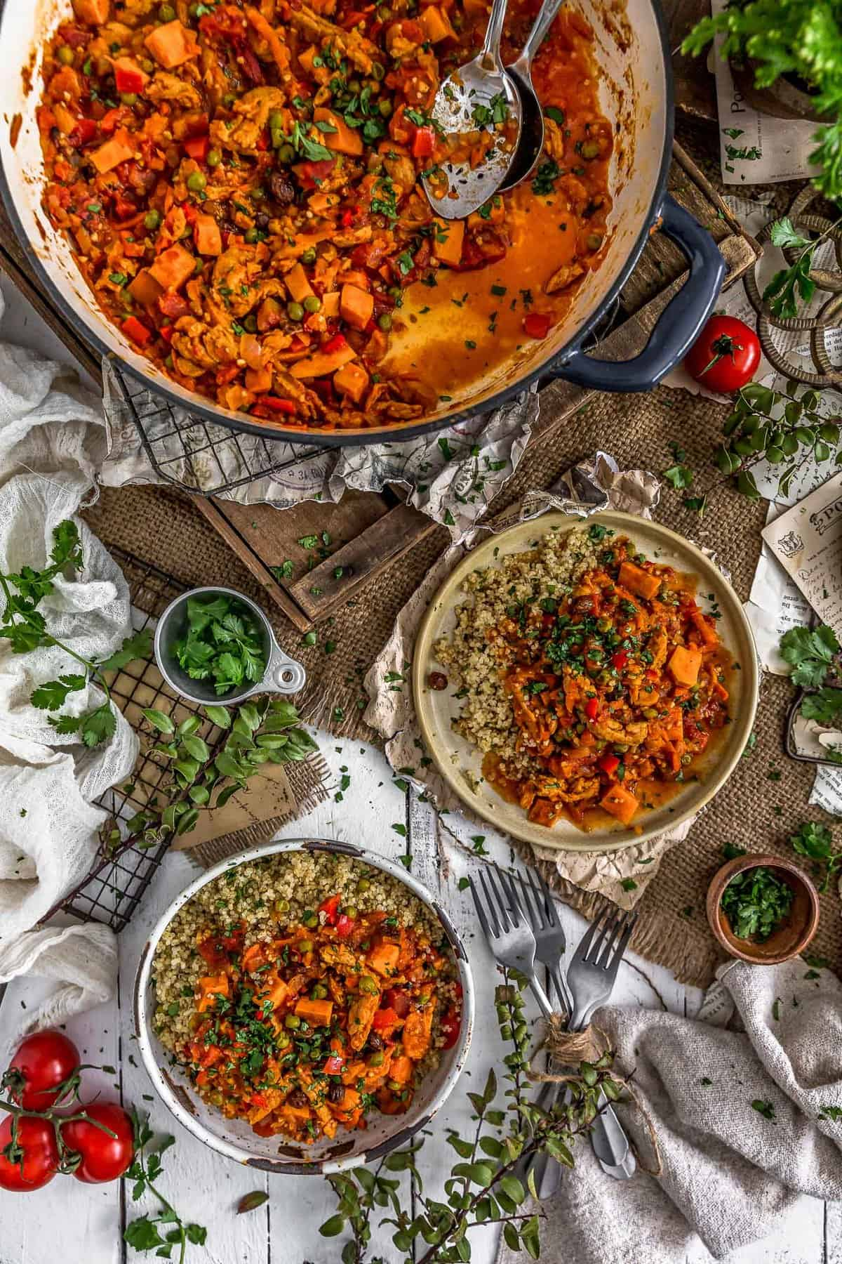 Tablescape of Moroccan Soy Curl Stew